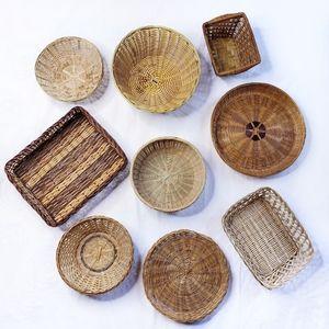 Wicker Basket Vintage Woven Wall Decor Set of 9